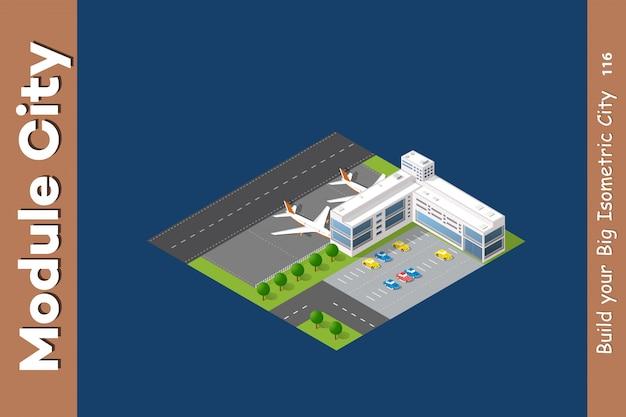 Isometrischer flughafen der stadt 3d Premium Vektoren
