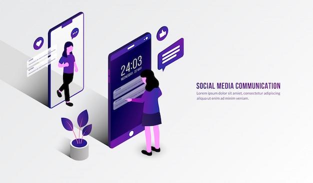 Isometrischer frauenchat vor mobile, social media-kommunikationskonzept Premium Vektoren