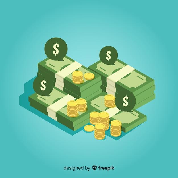 Isometrischer geldhintergrund Kostenlosen Vektoren
