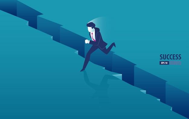Isometrischer geschäftsmann, der über den abstand zwischen klippen springt. geschäft vektor-illustration Premium Vektoren