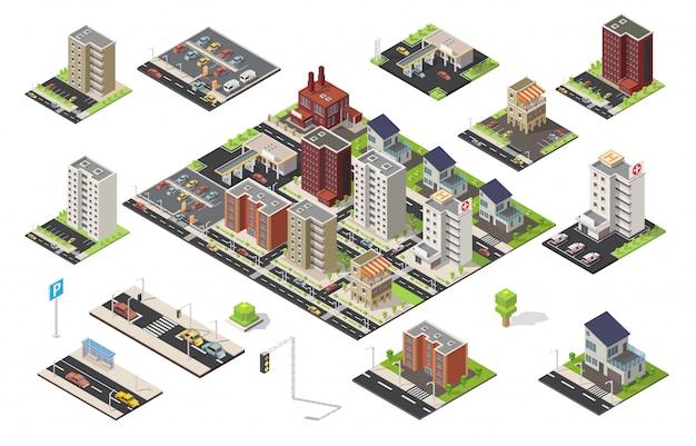 Isometrischer großer satz niedrige polyelemente des stadtstadtbildvektors Premium Vektoren