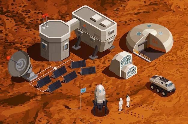 Isometrischer hintergrund der mars-kolonisation mit ausrüstung für raumfahrt und astronauten für wissenschaftliche forschung und kommunikation Kostenlosen Vektoren