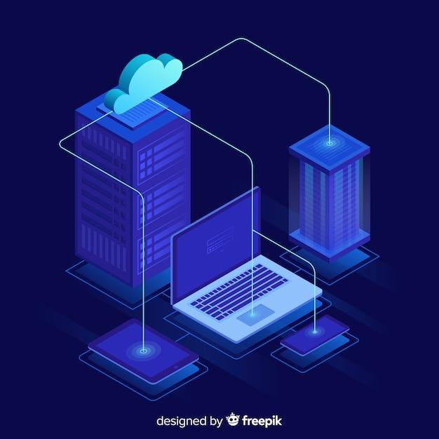 Isometrischer hosting-service-hintergrund Kostenlosen Vektoren