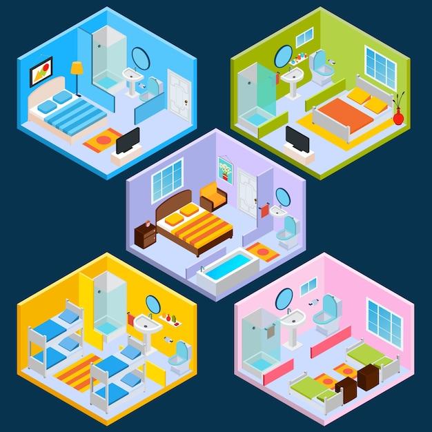 Isometrischer Hotel-Innenraum Kostenlose Vektoren