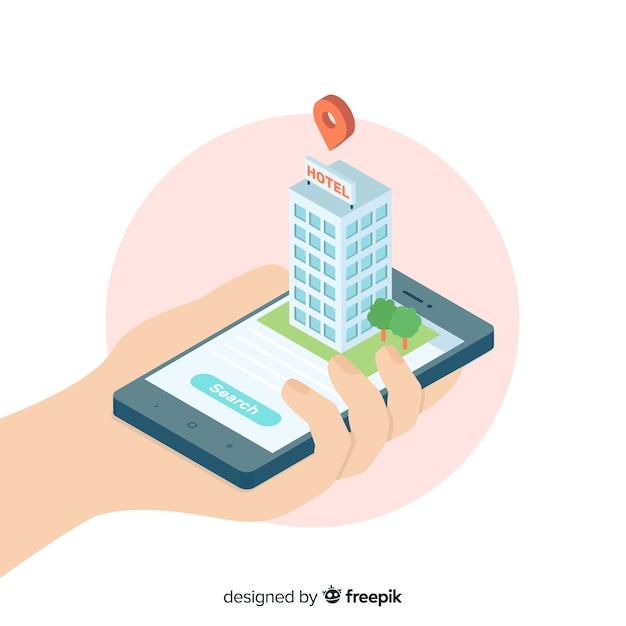 Isometrischer hotelbuchungshintergrund Kostenlosen Vektoren