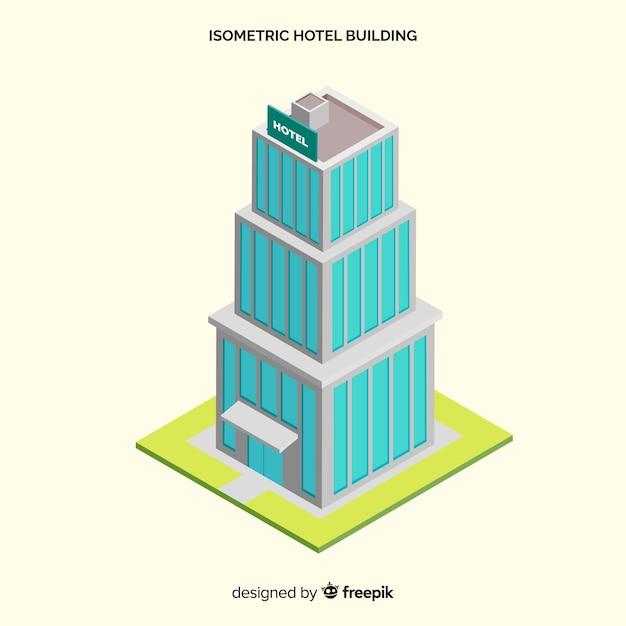 Isometrischer hotelfassadenhintergrund Kostenlosen Vektoren
