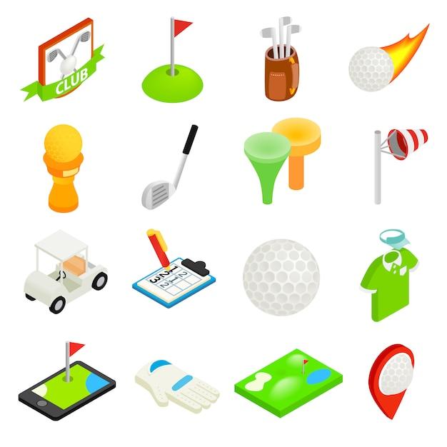 Isometrischer ikonensatz 3d des golfs lokalisiert auf weißem hintergrund Premium Vektoren