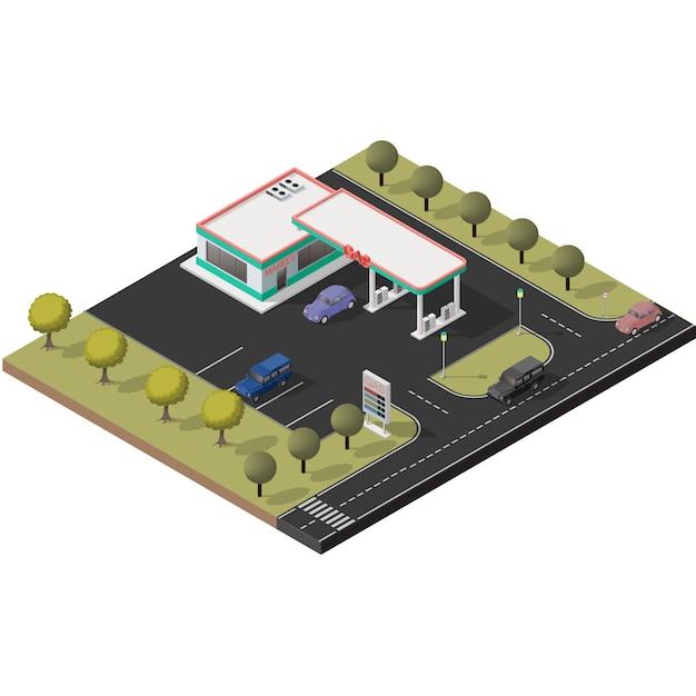 Isometrischer ikonensatz, der kleine tankstelle darstellt Premium Vektoren