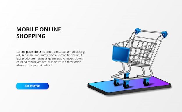 Isometrischer illustrationswagen 3d mit smartphone. online-shop-shopping und e-commerce-konzept. Premium Vektoren