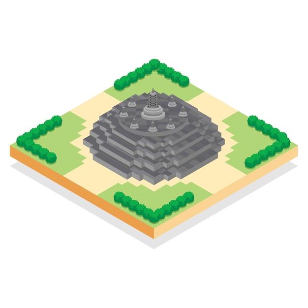 Isometrischer indonesischer borobudur-tempel, vektorillustration Premium Vektoren