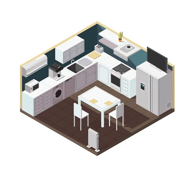 Isometrischer innenraum der küche 3d mit haushaltsgerät, ausrüstung und möbeln Premium Vektoren
