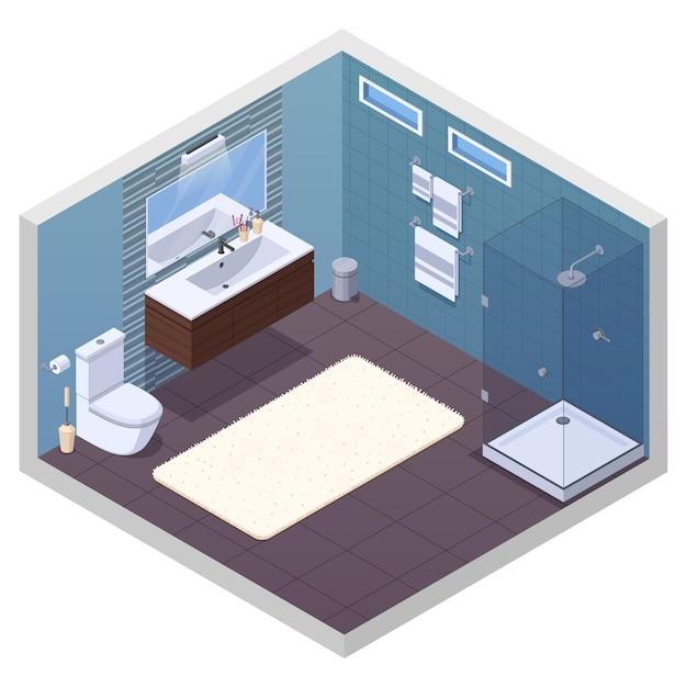 Isometrischer innenraum des badezimmers mit glattem duscheinheitentoilettenschüssel-eitelkeitsbassenspiegel und weicher badmattenvektorillustration Kostenlosen Vektoren