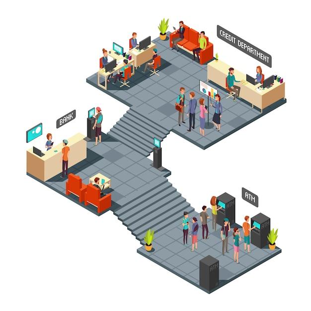 Isometrischer innenraum des handelsbankbüros 3d mit geschäftsleuten nach innen. bank- und finanzvektorkonzept Premium Vektoren