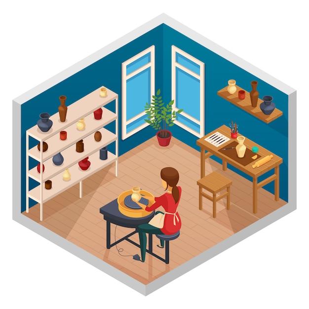 Isometrischer innenraum des kunststudios mit arbeitsplatz des weiblichen topfmachers mit fertigen handgemachten produkten auf regalen vector illustration Kostenlosen Vektoren