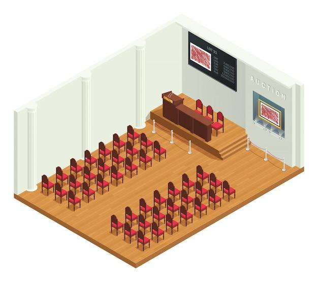 Isometrischer innenraum des retrostil-auktionsraums Kostenlosen Vektoren