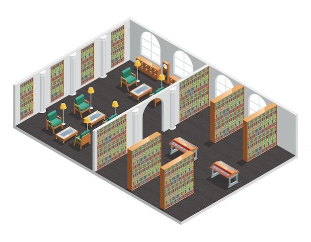 Isometrischer innenraum für leere buchhandlungs- und bibliotheksräume mit bücherregalen und sesseln vector illus Kostenlosen Vektoren