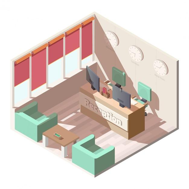 Isometrischer innenvektor der hotelaufnahmehalle Kostenlosen Vektoren