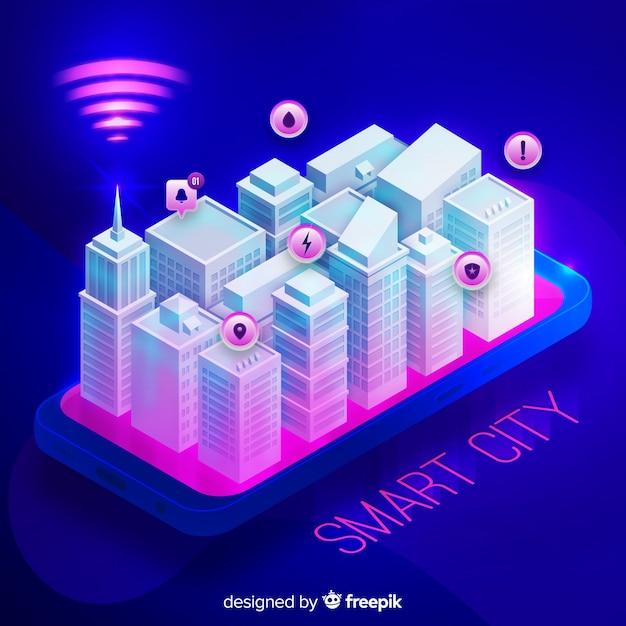 Isometrischer intelligenter stadthintergrund Kostenlosen Vektoren
