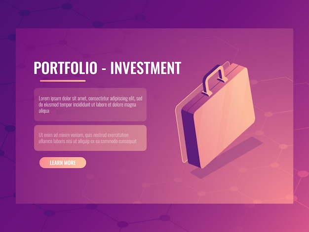 Isometrischer koffer, portfolioinvestition und finanzierung, abstrakter hintergrund Kostenlosen Vektoren