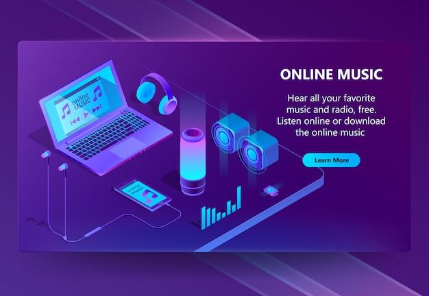 Isometrischer konzepthintergrund der on-line-musik Kostenlosen Vektoren