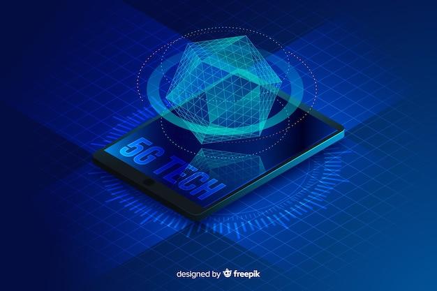 Isometrischer konzepthintergrund des hologramms 5g Kostenlosen Vektoren