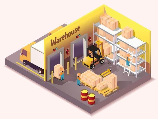 Isometrischer lagerlogistik-lieferservice Premium Vektoren