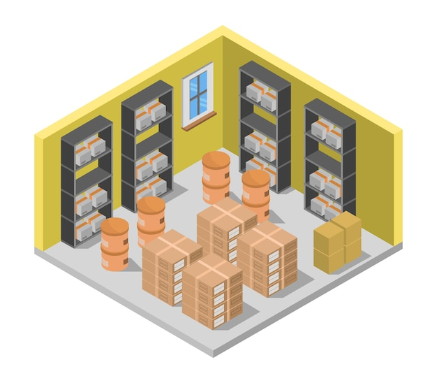 Isometrischer lagerraum Kostenlosen Vektoren