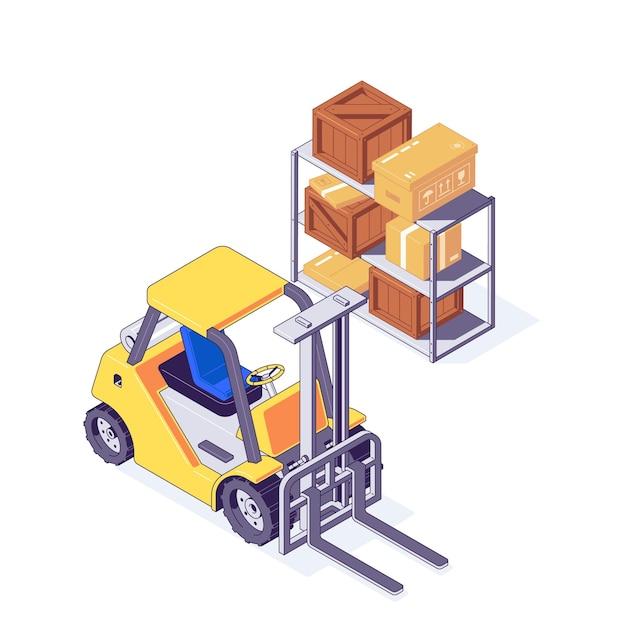 Isometrischer lagerstapler mit pappe und holzkisten im regal. lager- und lieferkonzept mit gelbem gabelstapler und paketen. lagermaschinen mit box in fracht und versand Premium Vektoren