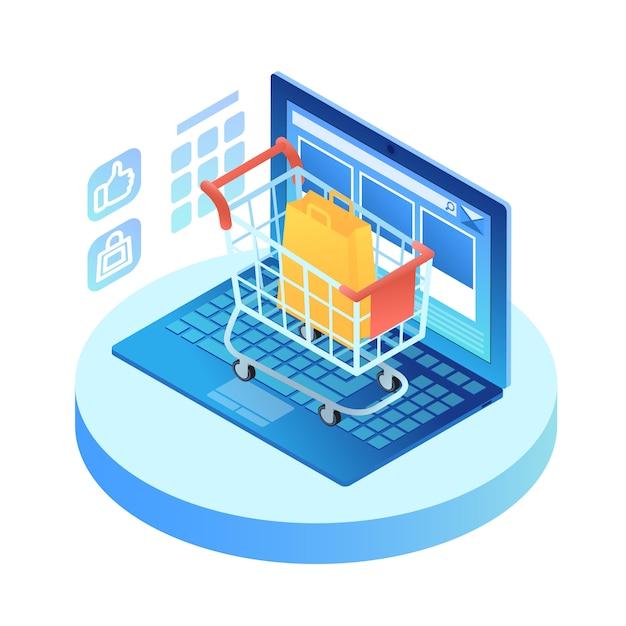 Isometrischer laptop mit einkaufswagen auf tastatur Kostenlosen Vektoren