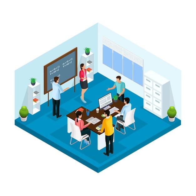 Isometrischer lernprozess in der universitätsvorlage mit studenten, die im klassenzimmer studieren und brainstorming isoliert Kostenlosen Vektoren