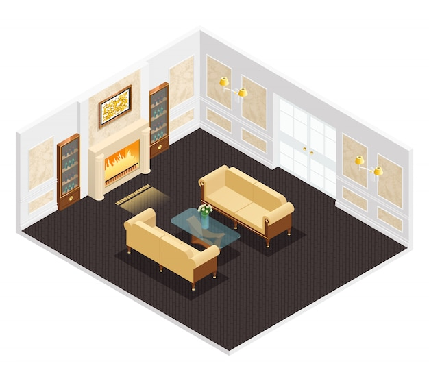 Isometrischer luxusinnenraum für wohnzimmer mit kamin Kostenlosen Vektoren