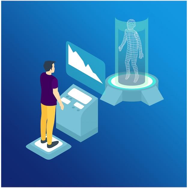 Isometrischer mann kommuniziert mit abstraktem futuristischem bildschirm Premium Vektoren