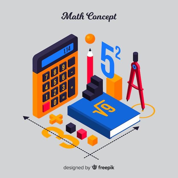 Isometrischer mathe-materialhintergrund Kostenlosen Vektoren