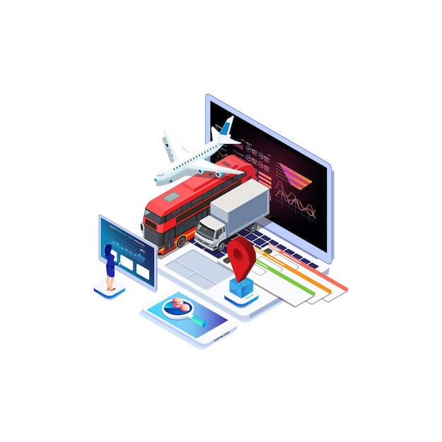 Isometrischer online-kauf oder buchung von tickets für ein flugzeug, einen bus oder einen zug Premium Vektoren