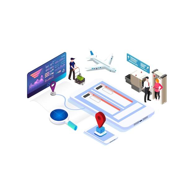 Isometrischer online-kauf oder buchung von tickets für ein flugzeug. reisen sie um die welt und länder Premium Vektoren