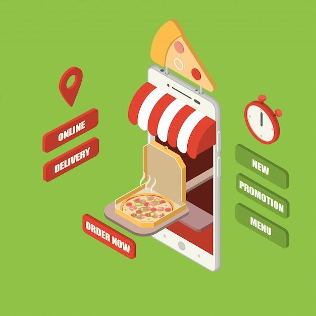 Isometrischer online-pizza-zustellungs-smartphone Premium Vektoren