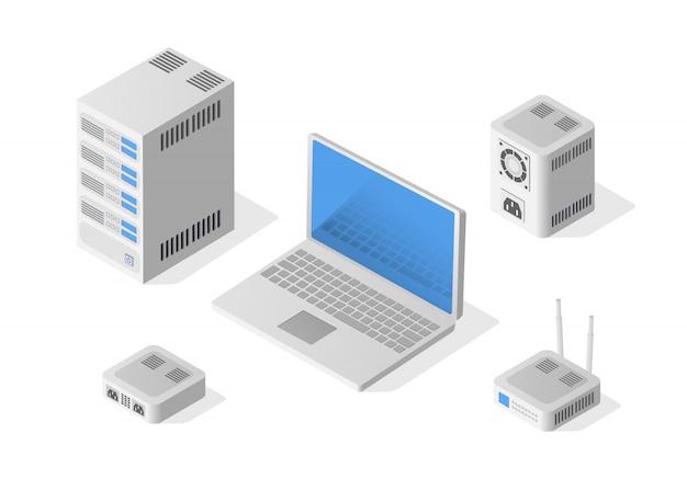 Isometrischer personal computer Premium Vektoren