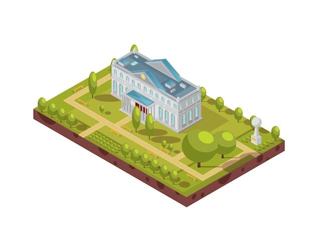 Isometrischer plan des historischen hochschulgebäudes mit monumentgehwegen und -bänke in umgebender vektorillustration des parks 3d Kostenlosen Vektoren