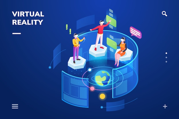 Isometrischer raum mit menschen, die virtual reality oder ein immersives technologie-gadget verwenden. Premium Vektoren