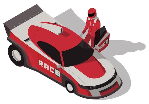 Isometrischer rennwagen und rennfahrer isoliert Premium Vektoren
