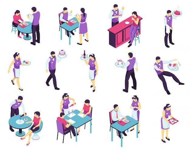 Isometrischer restaurantkellner stellte mit lokalisierten bildern von den leuten ein, die an café- und kellnercharakteren in der uniform teilnehmen Kostenlosen Vektoren