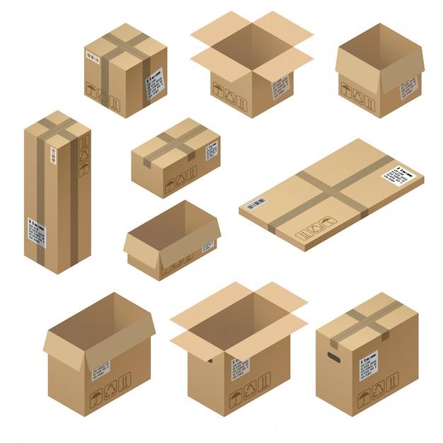 Isometrischer satz 3d pappverpackung, post für die lieferung lokalisiert auf weißem hintergrund Kostenlosen Vektoren