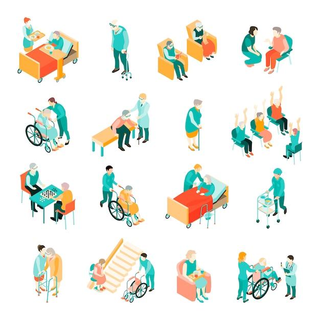 Isometrischer satz ältere menschen in den verschiedenen situationen und medizinisches personal im pflegeheim lokalisiert Kostenlosen Vektoren