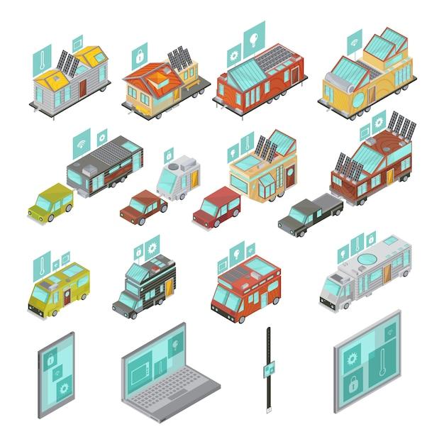 Isometrischer satz der mobilheime einschließlich transporter und hausanhänger der elektronischen geräte mit technologieikonen lokalisierte vektorillustration Kostenlosen Vektoren