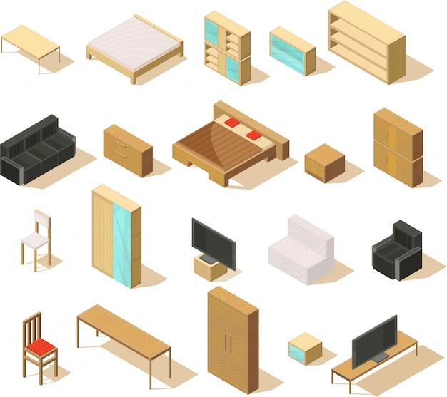 Isometrischer satz der möbel lokalisierten einzelteile mit doppelbettsofastühlen sesselt nachttische und fernsehvektorillustration Kostenlosen Vektoren