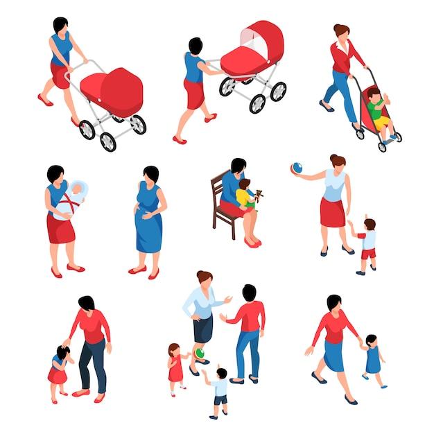 Isometrischer satz der mutterschaft von jungen frauen, die ihre kleinen kinder und neugeborenen isoliert babysitten Kostenlosen Vektoren