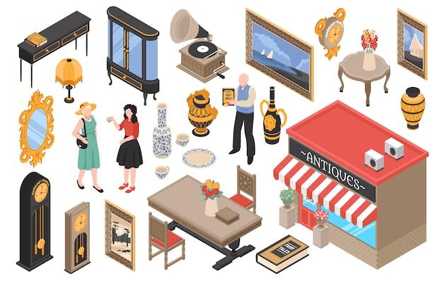 Isometrischer satz des antiquitätengeschäfts der elemente des alten geschirrs der vintage-möbel und der einzelteile für haus isoliert Kostenlosen Vektoren