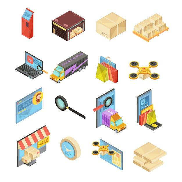 Isometrischer satz des internet-speichers mit suche nach waren, lager, zustellungsverfolgung, online-zahlung, paket lokalisierte vektorillustration Kostenlosen Vektoren