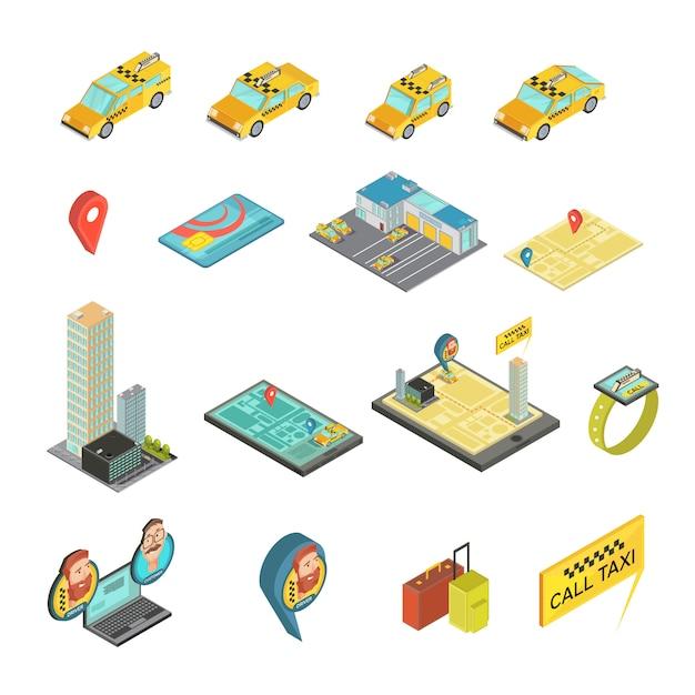 Isometrischer satz des taxis und der geräte einschließlich autos, häuser, zahlungskarte, karte, intelligente uhr, gepäck lokalisierte vektorillustration Kostenlosen Vektoren