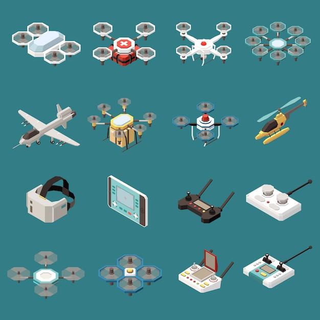 Isometrischer satz von drohnen-quadrocoptern aus 16 isolierten objekten mit bildern von flugzeugen und fernbedienungen Kostenlosen Vektoren